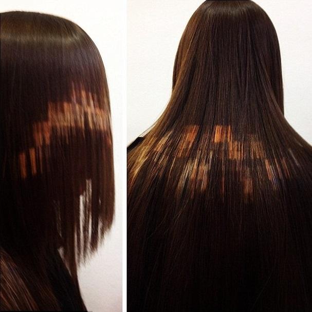"""Как выглядит новейший тренд весны 2015 в окрашивании волос """"Pixelated Hair"""" на длинных волосах"""