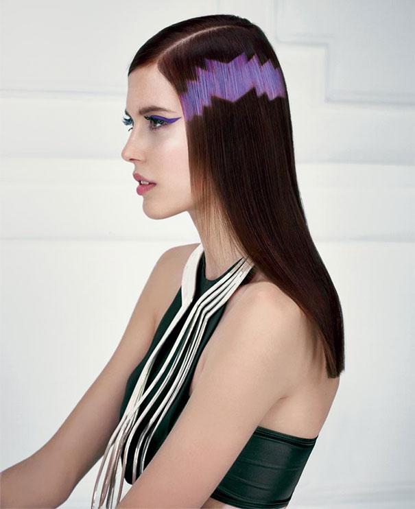 Самое популярное расположение модного графического окрашивания – широкая полоска волос между макушкой и шеей
