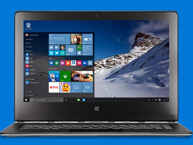 Windows 10, Рабочий стол, меню Пуск