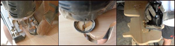 Механическим лобзиком выпилите фигурные навершия у каждой доски по наметкам