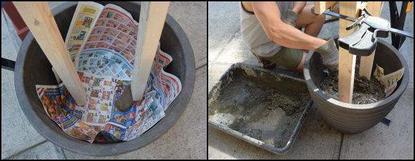 фиксируем рамку в цветочном горшке посредством бетона