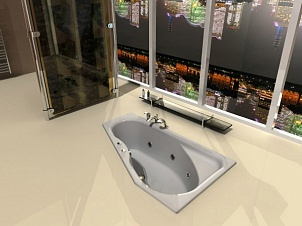 встроенная в пол ванная, вид на ночной город, окна от пола до потолка