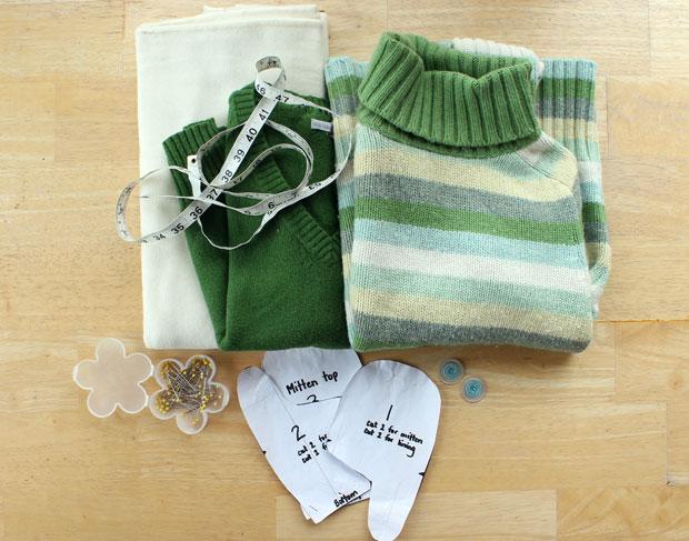 свитера, флис, сантиметр, булавки, иголки, пуговицы - для варежек из свитеров