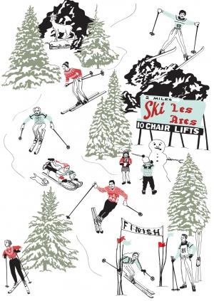 Она так же предлагает винтажные обои со сценами катания на лыжах среди всей этой антикварной суеты
