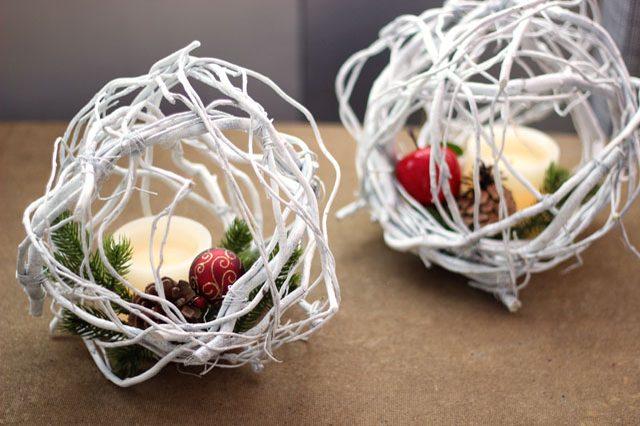 Как сделать простые, но эффектные зимне-новогодние элементы декора - флорариум в шаре из ивы кудрявой