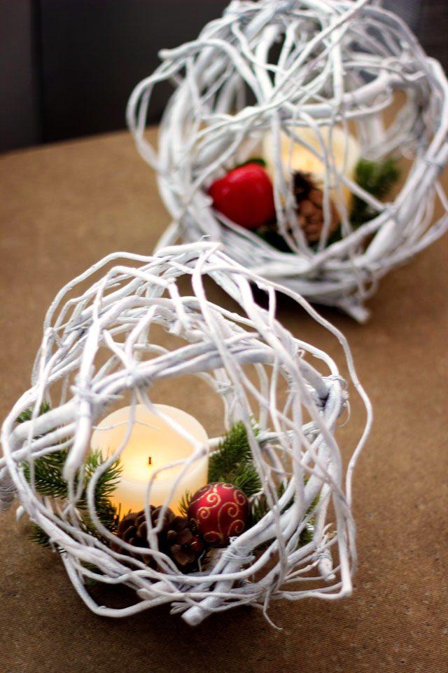 Как сделать простые, но эффектные зимне-новогодние элементы декора - ивовые шары