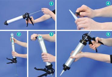 Вставьте тубу с силиконом в пистолет, поставьте на место и срежьте длинный острый носик тубы