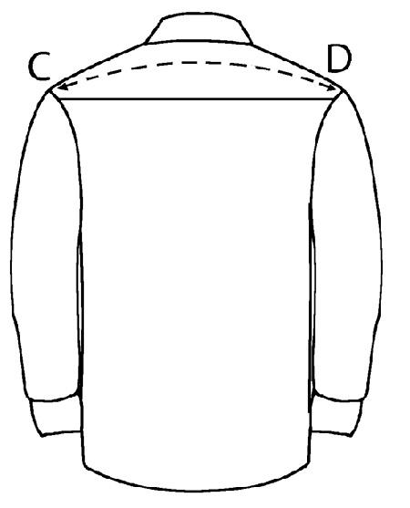 Измерьте по жакету расстояние между плечами, запишите