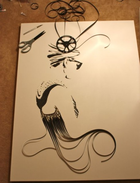 Как создаются необычные картины. Картины из кассетной пленки