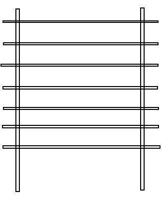 Бамбуковый палочки меньшего размера положите сверху на 2 первые рейки