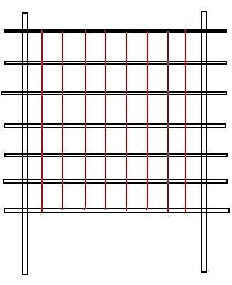 Сохраняя натяжение, берите каждый кусок бечевки и ведите его вниз, туго оборачивая (лучше дважды) вокруг каждой горизонтальной планки/палки/рейки по пути