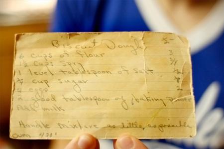 Старая карточка с рецептом