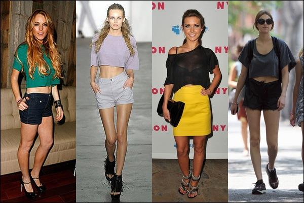 обрезанные короткие топы мода тренды осени 2013 девяностые гранж