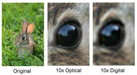 В противовес цифровому сравните его с оптическим зумом