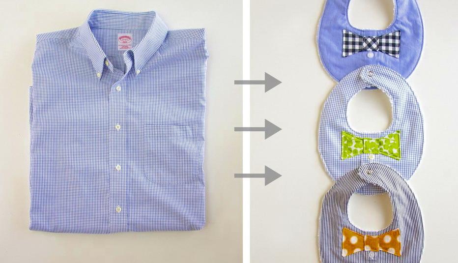 Как быстро сшить детский слюнявчик из мужской рубашки