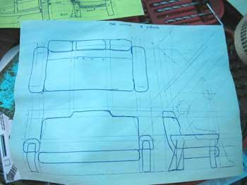 Сделайте набросок/чертеж с общей формой софы