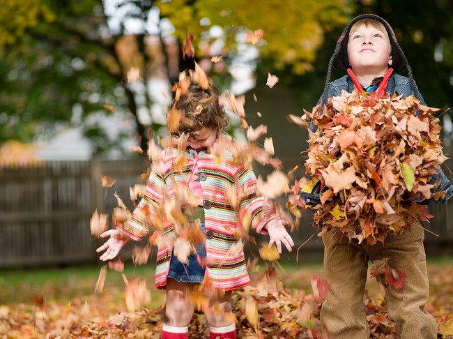 дети играют с осенними павшими листьями, собирая их в кучу и подбрасывая вверх