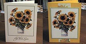 Вырежьте переднюю часть открытки и поместите ее на сложенную вдвое, достаточно жесткую цветную карточку