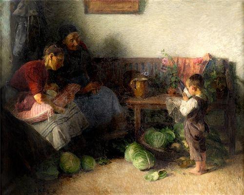 картина в деревне ребенок и капуста