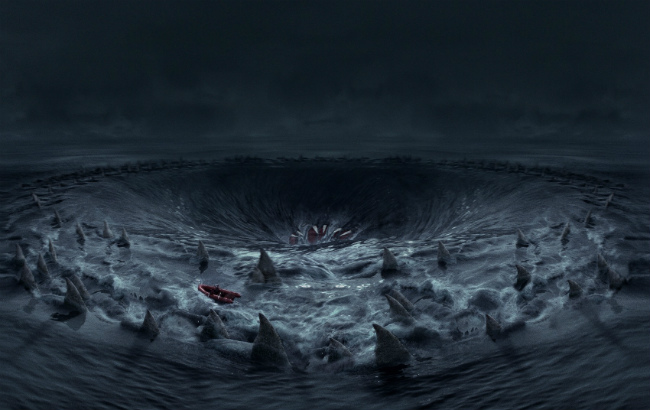 «Перси Джексон и Море чудовищ» (Percy Jackson: Sea of Monsters) кадр из фильма, воронка с акулами