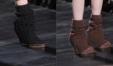 короткие вязаные гетры на ботинок