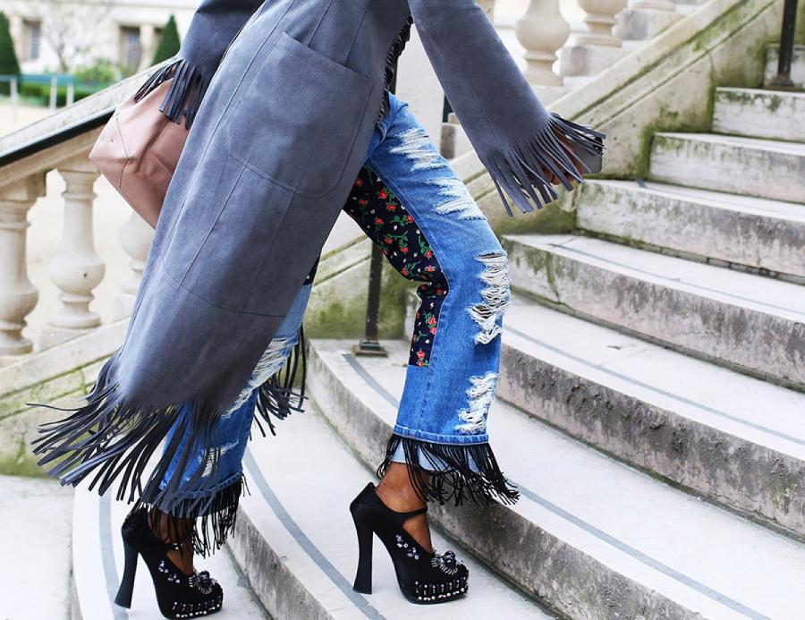 джинсы в стиле пэчворк - задняя сторона штанин - почти вся