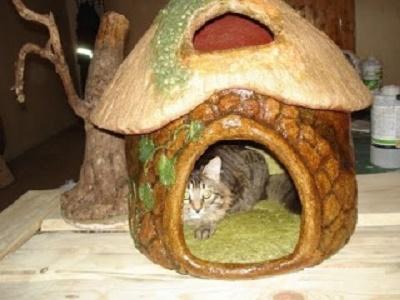 Как сделать кошачий домик из папье-маше