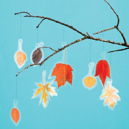 Мобили из осенних листьев