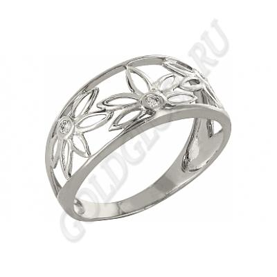 драгоценное кольцо из белого золота с цветами и бриллиантами