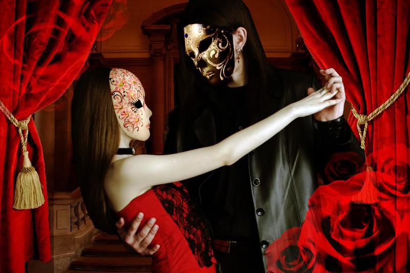 готичный романтичный вампиры пара танцует в венецианских масках и старинных костюмах