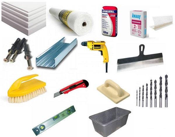 Инструменты для работы с системой мокрый фасад и утеплителем пенопласт