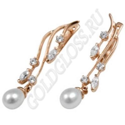 длинные серьги сережки с бриллиантами и жемчугом