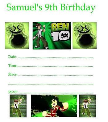 Пример простого тематического приглашения на вечеринку по мультсериалу