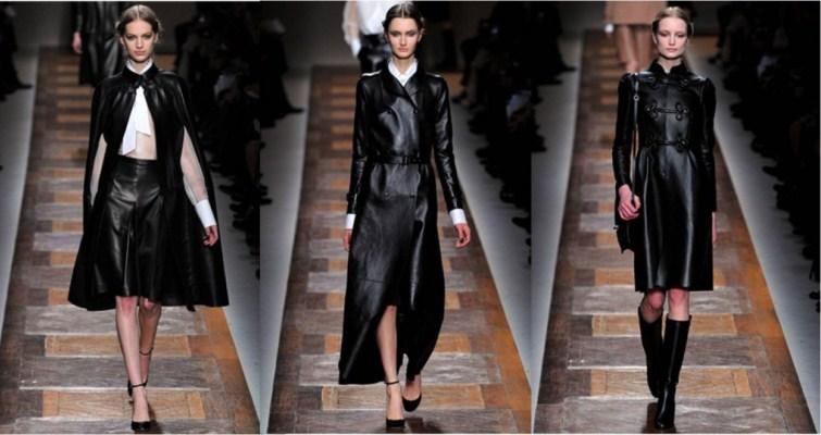 женский осенний плащ: мода осени 2013, рукава три четверти, крой свободный, черная кожа