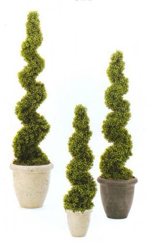 фигурные деревца, выполненные из плюща или розмарина
