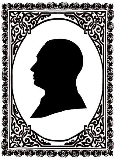Черный силуэт – это контур человеческого лица в профиль, выполненный из черной бумаги