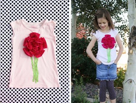 Как украсить детскую футболку лентами