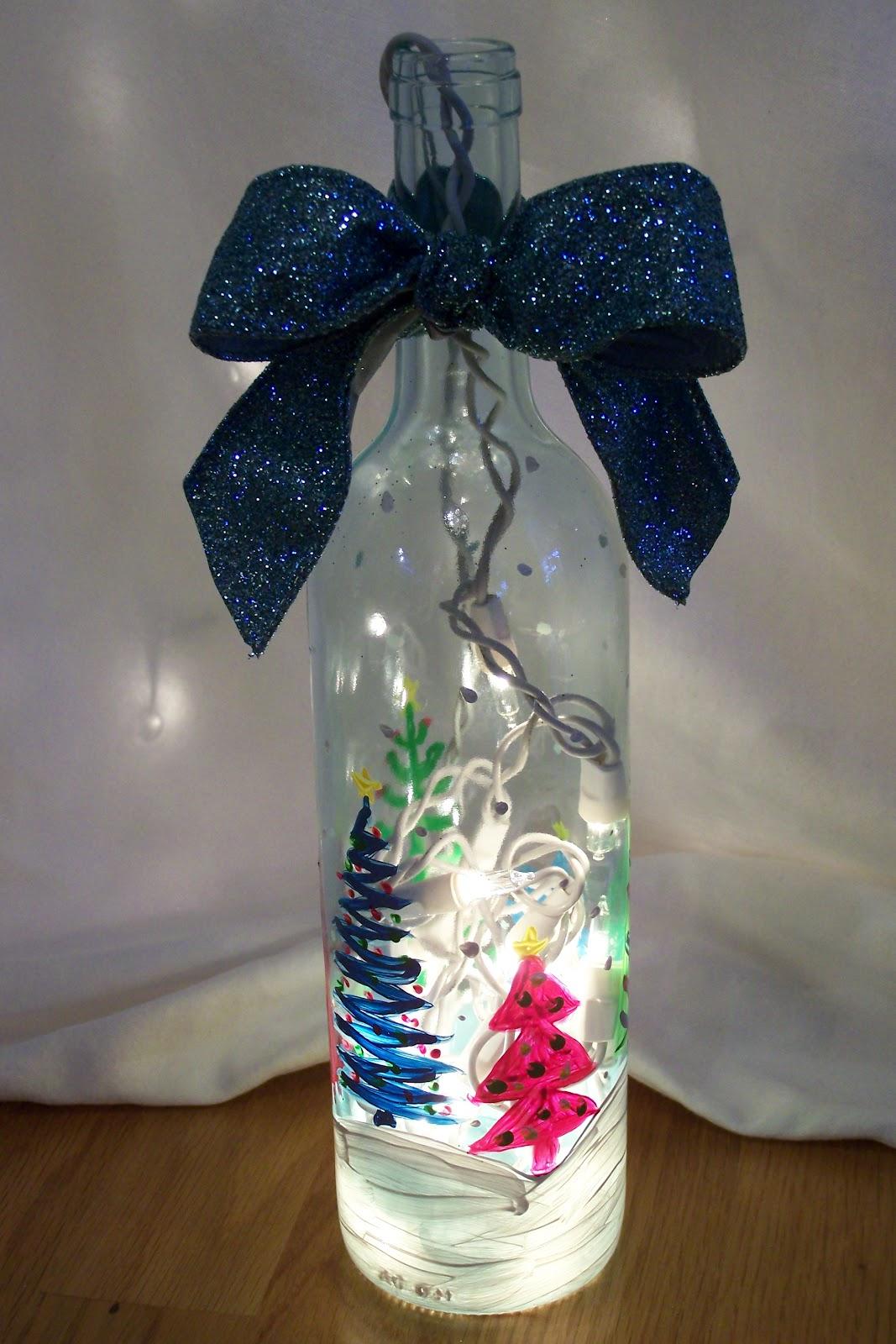 новогодняя бутылка-светильник со шнуром через горло