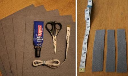 Отрежьте около 10 полосок от более темного куска фетра