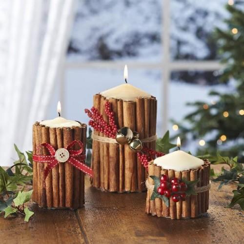 украшение свечи с коричными палочками