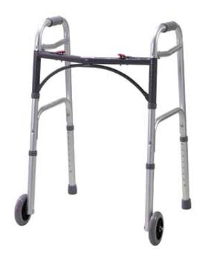 Перекатывающиеся ходунки поставляются с двумя колесами