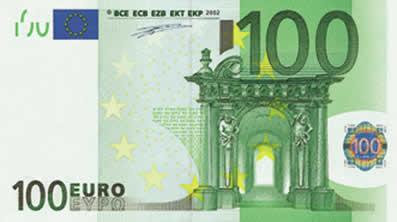 Сто евро как выглядит франк знак